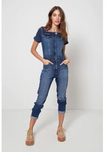 Macacão Jeans Decote Quadrado Jeans - Oh, Boy! - Feminino-Azul