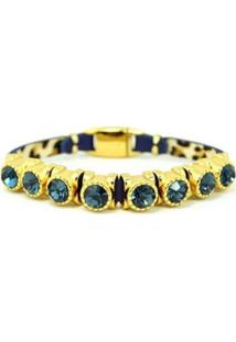 Pulseira Izolo Armazem Rr Bijoux Couro 8 Cristais Azul Marinho