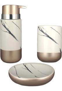 Kit Banheiro Saboneteira Porcelana Marmorizada Acessório Branco Gold Porta Escova Sabonete 3Pç