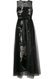Redvalentino Vestido Com Tule E Bordado De Andorinhas E Flores - Preto