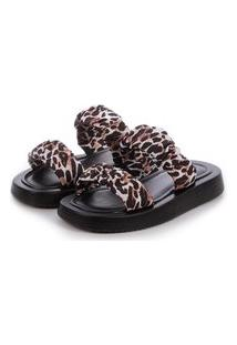 Sandália Flat De Tiras Damannu Shoes Melissa Animal Print Onça