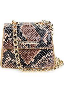 Bolsa Couro Jorge Bischoff Mini Bag Snake Print Alça Corrente Feminina - Feminino-Estampado