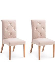 Conjunto Com 2 Cadeiras De Jantar Marina Marrom Claro E Castanho
