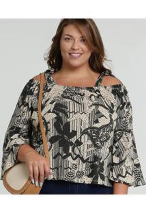Blusa Feminina Open Shoulder Estampada Plus Size Marisa