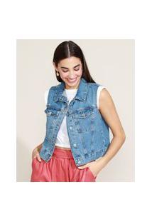 Colete Jeans Feminino Cropped Marmorizado Azul Escuro