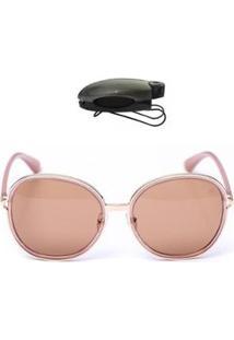 Kit Porta Óculos Veicular + Óculos De Sol Redondo Feminino - Feminino-Marrom