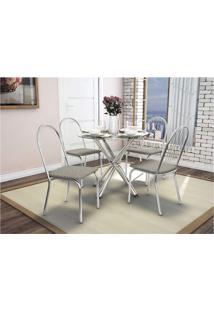 Conjunto De Mesa Com 4 Cadeiras Crome Cromado E Marrom-Linho Kappesberg
