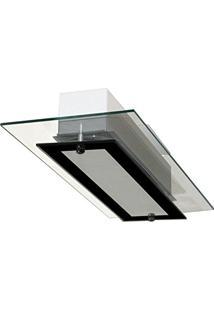 Plafon Com 02 Vidros - Ideal Para Sala / Quarto / Cozinha - Transparente / Preto