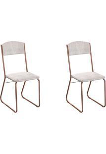 Conjunto Com 2 Cadeiras Byron Palha E Cobre