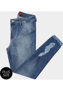 Calça Jeans Plus Size Biotipo Skinny Rasgos Barra Desfiada Cintura Média Feminina - Feminino
