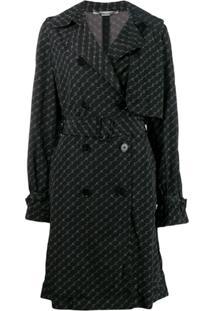 Stella Mccartney Trench Coat Com Estampa De Logo - Preto