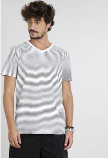 Camiseta Masculina Básica Listrada Manga Curta Gola V Off White