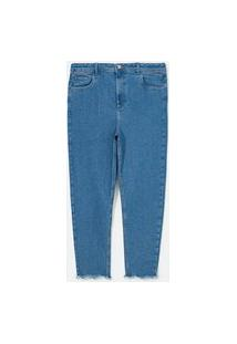 Calça Skinny Jeans Com Barra Desfiada Curve & Plus Size   Ashua Curve E Plus Size   Azul   48