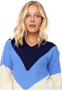 Suéter Facinelli By Mooncity Tricot Color Block Azul/Off-White