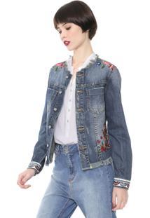 Jaqueta Jeans Desigual Bordada Azul