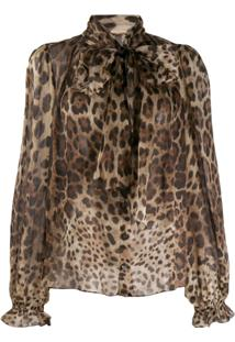 Dolce & Gabbana Animal Print Blouse - Marrom