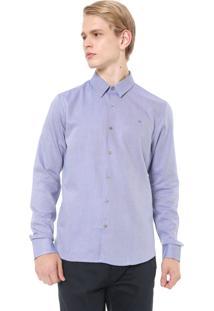 Camisa Calvin Klein Slim Geneva Diago Azul