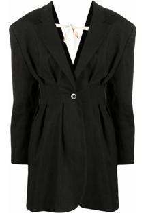 Jacquemus Camargue Pleated Suit Jacket - Preto