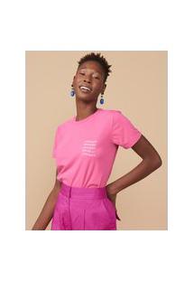 Amaro Feminino T-Shirt Slim Because I'M Happy, Rosa