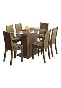 Conjunto Sala De Jantar Madesa Gales Mesa Tampo De Vidro Com 6 Cadeiras Rustic/Bege Marrom Rustic/Bege Marrom