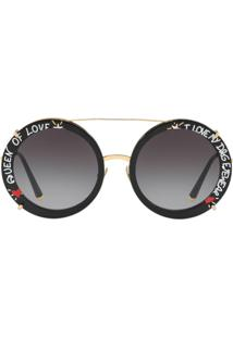 ... Dolce   Gabbana Eyewear Queen Of Love Round Sunglasses - Dourado 009acdf37c