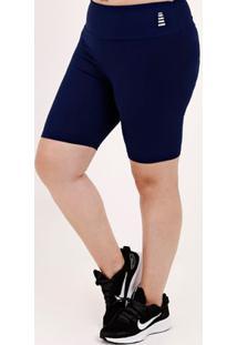Bermuda De Tecido Plus Size Feminina Azul