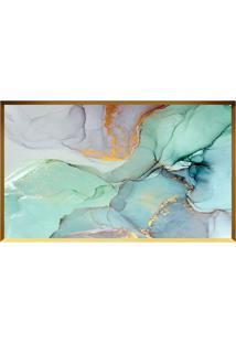 Quadro Decorativo Abstrato- Dourado & Verde ÁGua- 60Arte Prã³Pria