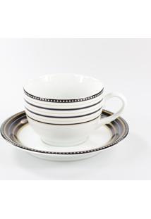 Xicara Para Chá C/ Pires Porcelana Schmidt - Dec. Paula Black