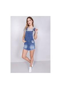 Macacão Jeans Short Saia Azul Médio Gang Feminino