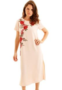 Vestido Aha Crepe Com Aplicação De Flor Nude