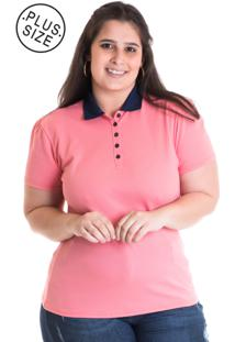 Camisa Pólo Manga Curta Rosa feminina  993d25f944f56