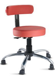 Cadeira Mocho Slim Vermelho Cromado