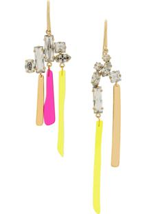 Isabel Marant Asymmetric Crystal-Embellished Earrings - Dourado