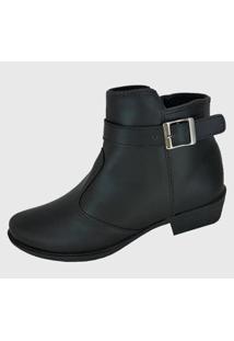 Botas Moda Pé Ankle Boots Cano Baixo Feminina - Feminino-Preto