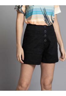 Shorts Linho Com Botões Preto Reativo - Lez A Lez