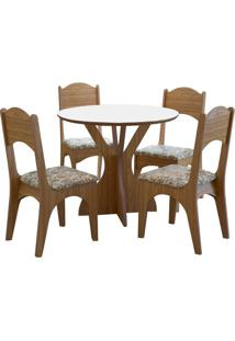 Mesa Nina Com 4 Cadeiras Freijo/Floral Claro
