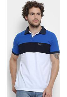 Camisa Polo Jimmy'Z Tricolor Masculina - Masculino-Branco+Azul