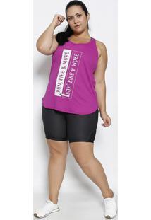 Regata Nadador Texturizada Com Inscriã§Ã£O- Pink & Off Whiphysical Fitness