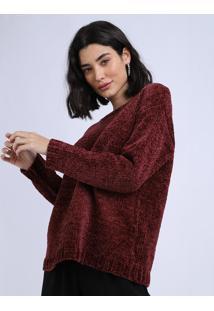 Suéter De Tricô Feminino Vinho