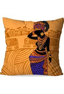 Capa Para Almofada Avulsa Decorativa Africana Amarela 35X35Cm