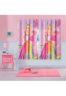 Cortina Infantil Barbie Reino Do Arco-íRis Com Ilhã³S Lepper