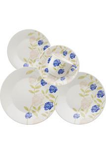 Aparelho De Jantar E Chá 30Pçs Azul Perfeito Cerâmica 008039 Biona