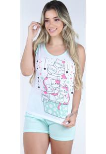 Pijama Curto Regata Bravaa Modas Baby Doll Short Blusinha 127 Verde