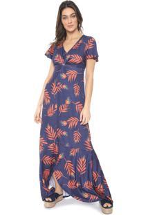 Vestido Mercatto Longo Estampado Azul-Marinho/Laranja