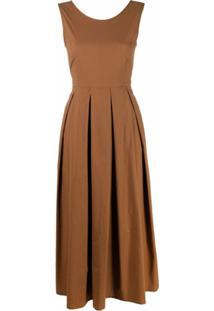 Seventy Vestido Evasê Com Detalhe De Laço - Marrom