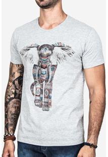 Camiseta Hermoso Compadre Ethnic Elephant Masculina - Masculino-Cinza