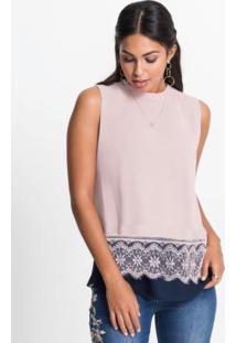 Blusa Visual Duplo Com Renda Rosa E Azul