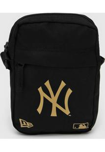 Bolsa New Era Shoulder Bag New York Yankees Preta/Dourada - Kanui