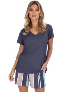 Pijama Curto Inspirate Em Poliamida Sleeper Azul