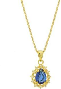 Colar Dona Diva Semi Joias Princesa Feminino - Feminino-Dourado+Azul